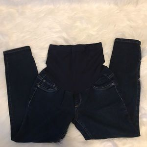 Indigo blue petite medium maternity pants